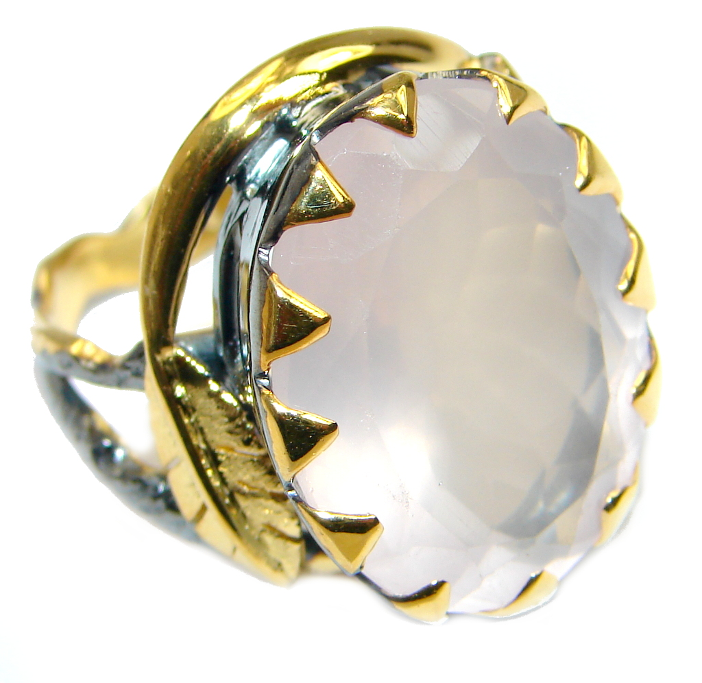 Amazing Rose Quartz Gold Rhodium plated over Sterling Silver ring s. 8