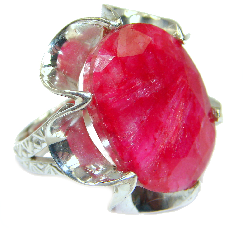 Kashmire Ruby Sterling Silver ring; s. 6 1/2