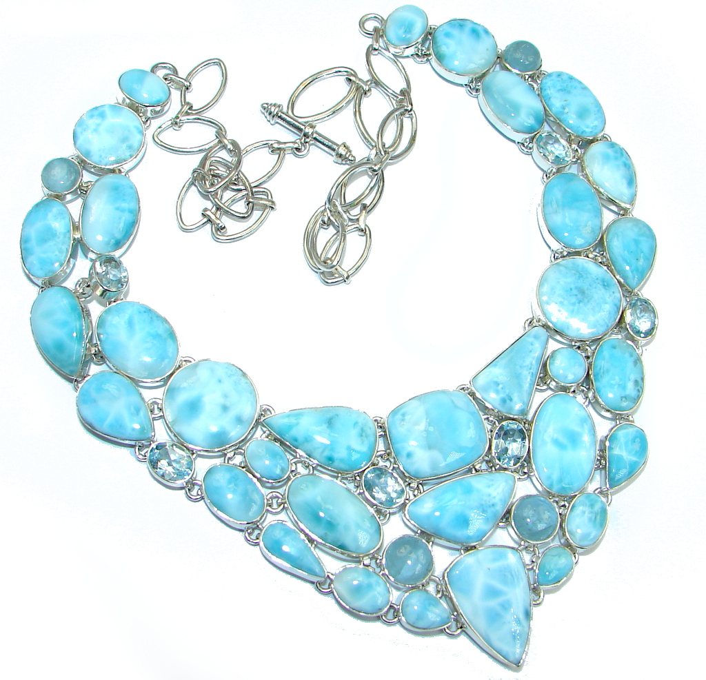 Huge AAA+ Blue Larimar Aquamarine Topaz Sterling Silver necklace