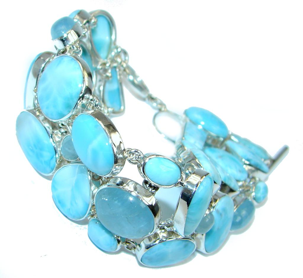 Natural  AAA Blue Larimar  & Aquamarine Sterling Silver handmade Bracelet