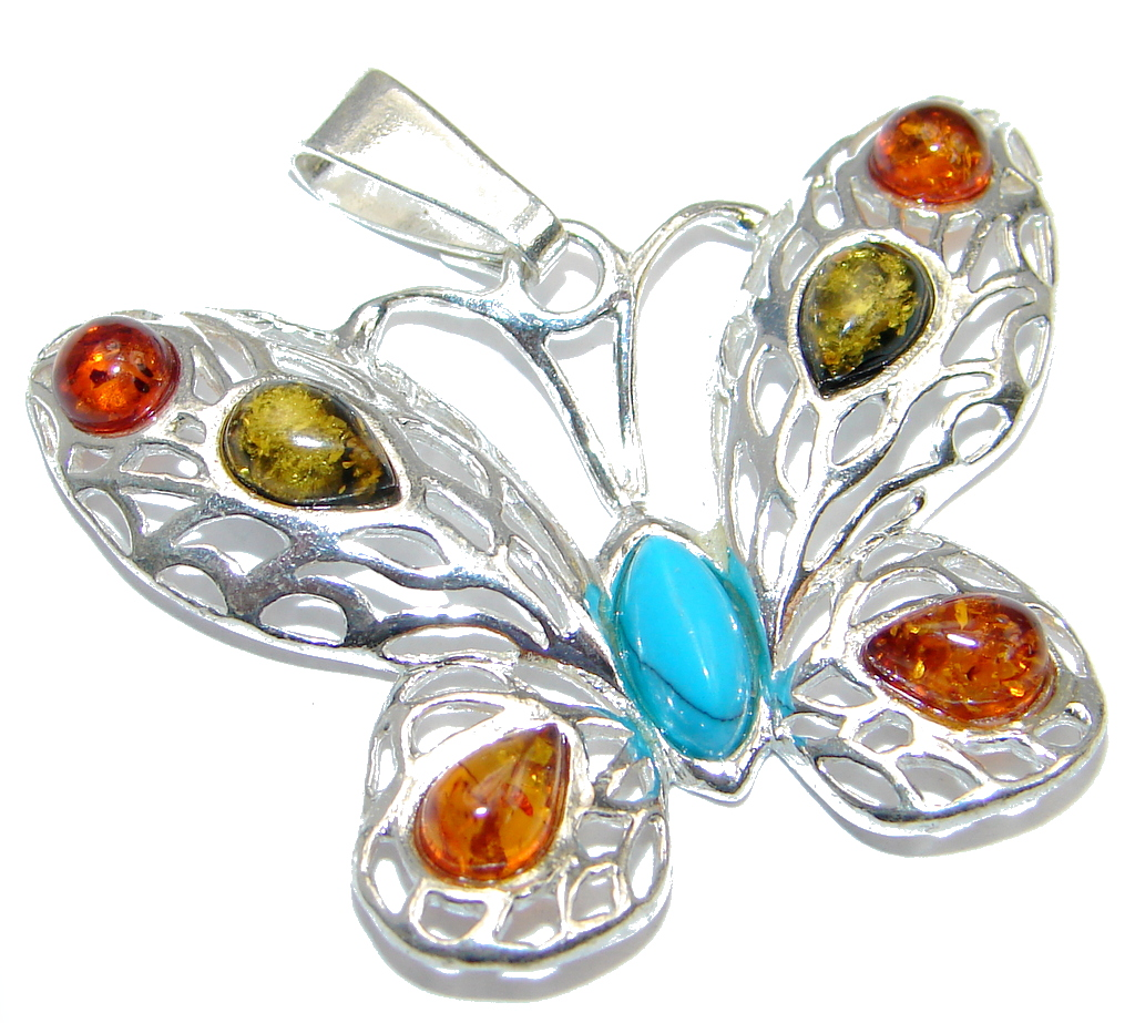 Butterfly Polish Amber & Turquoise Sterling Silver Pendant