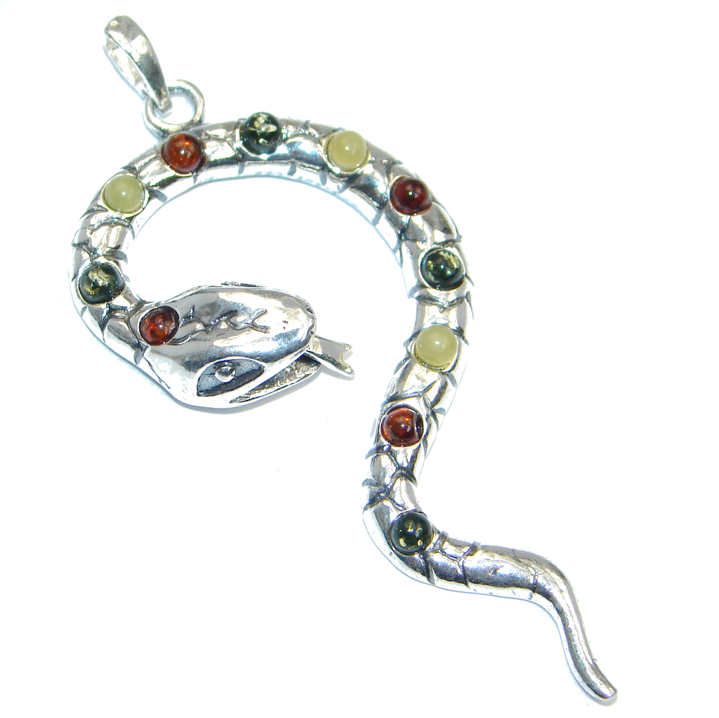 Big Secret Multicolor Snake Baltic Amber Sterling Silver Pendant