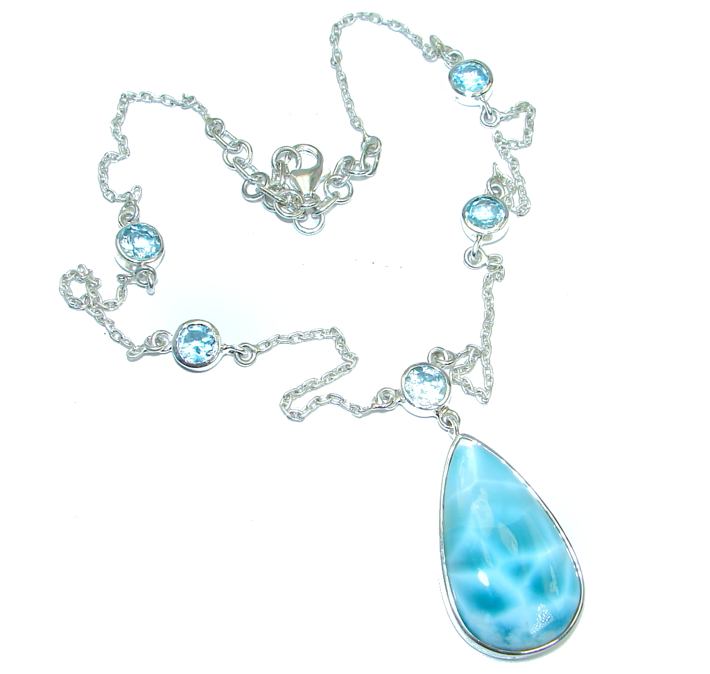 AAA+ Blue Larimar Swiss Blue Topaz Sterling Silver necklace