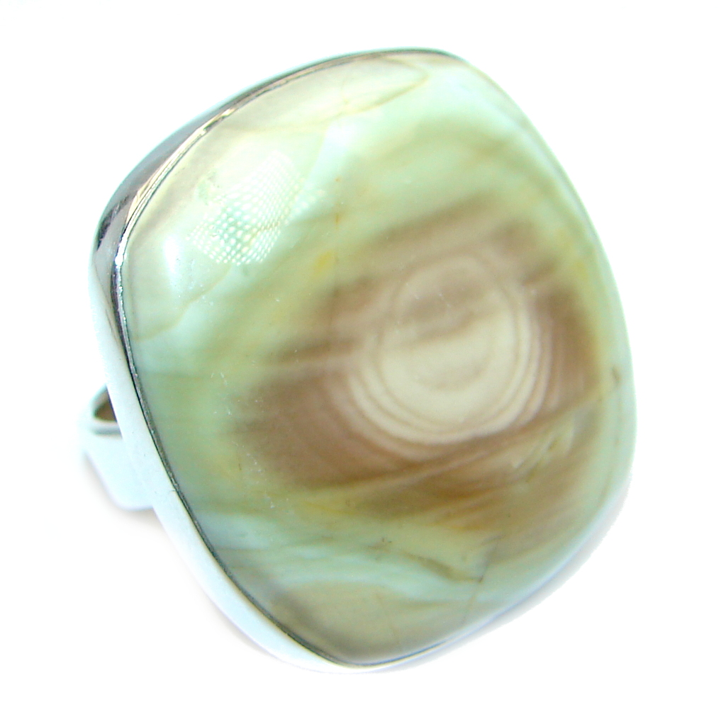 Authentic  Imperial Jasper Sterling Silver Ring s. 7