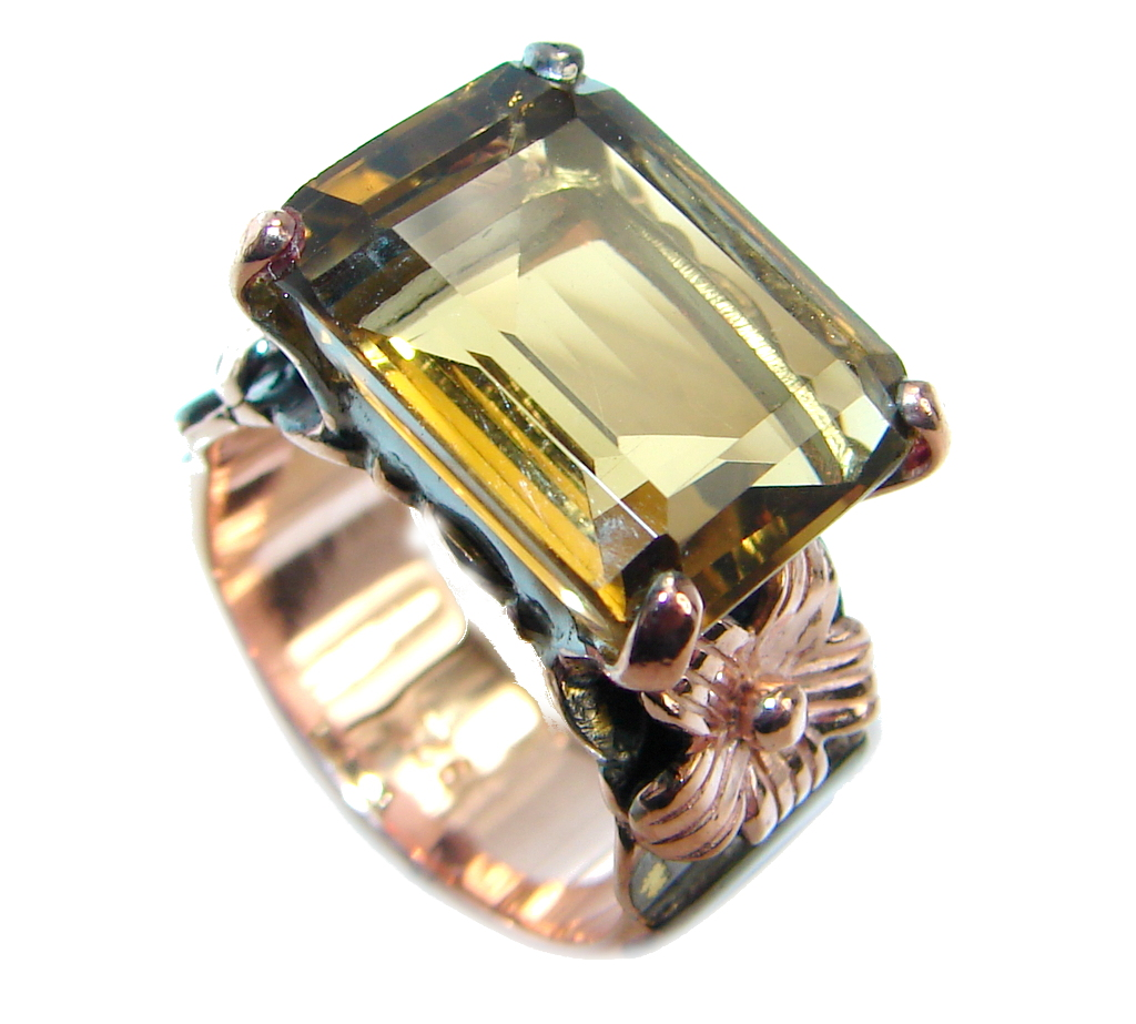 Amazing Genuine Smoky Topaz Rose Gold plated over Sterling Silver ring s. 6