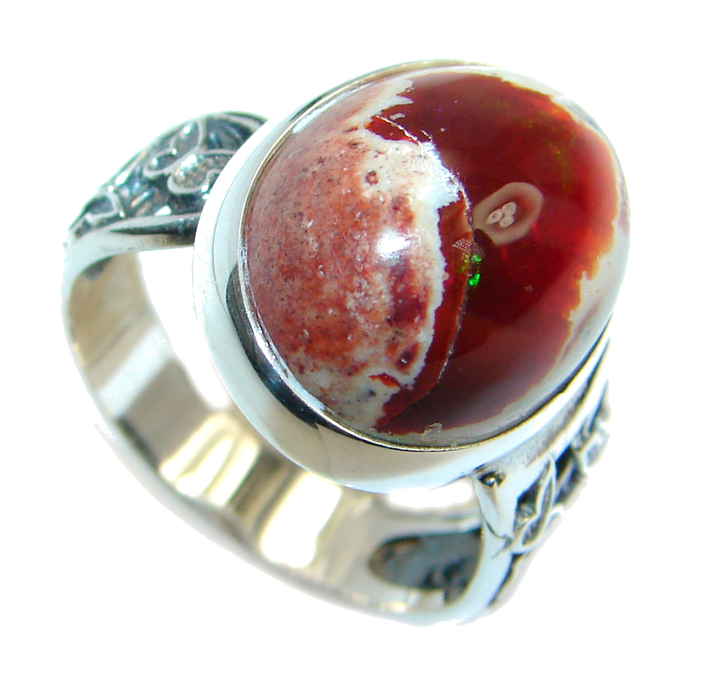AAA+ Mexican Fire Opal  Oxidized Sterling Silver  Ring   size adjustable