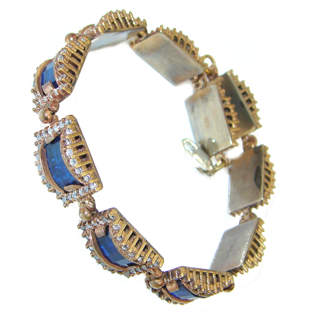 Victorian Style Created Blue Sapphire & White Topaz copper over Sterling Silver Bracelet