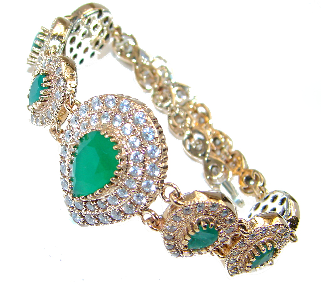 Victorian Style created Emerald & White Topaz Copper over Sterling Silver bracelet