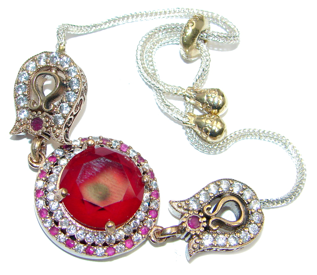 Victorian Style created Ruby & White Topaz copper over Sterling Silver Bracelet