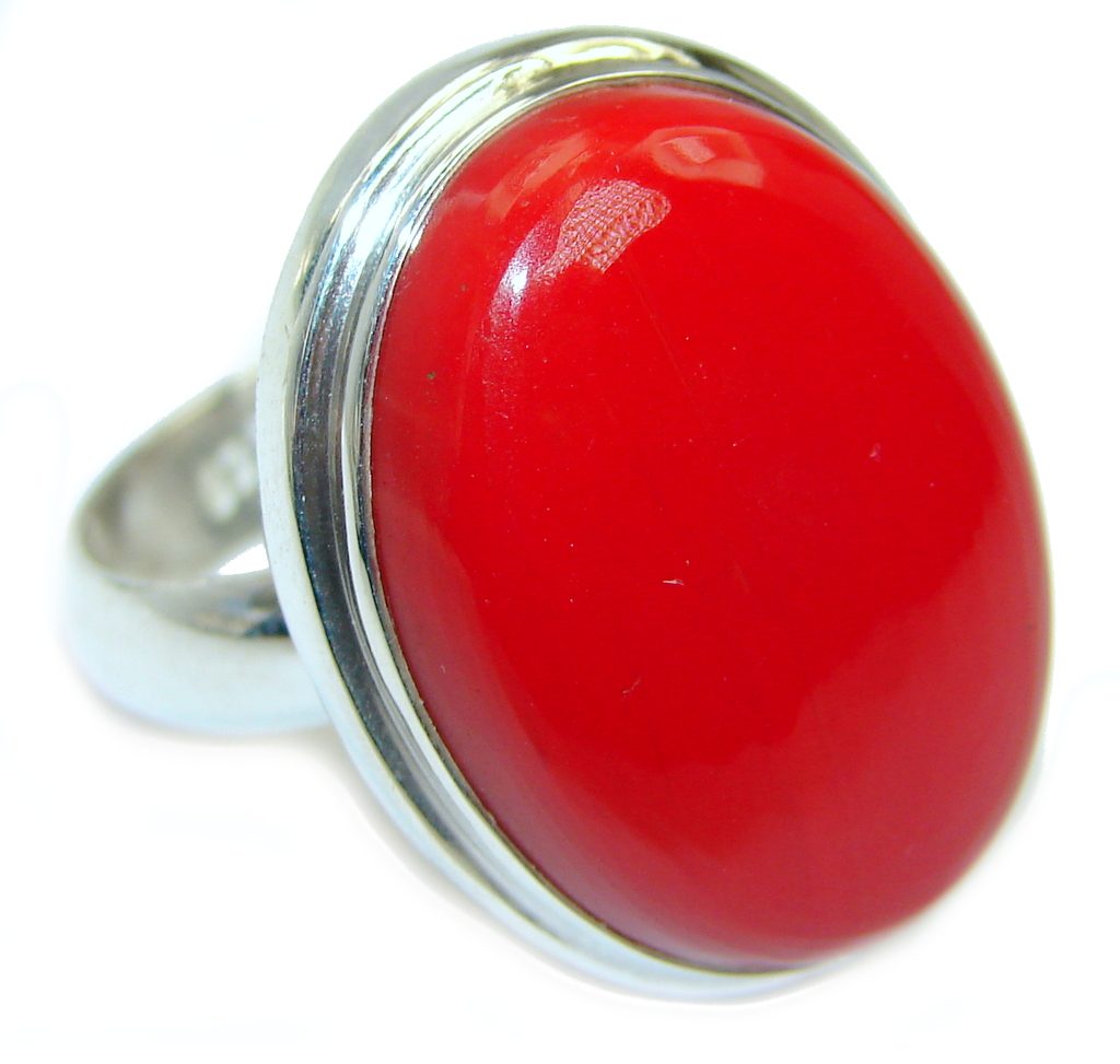 Amazing   Fossilized Coral Blister Pearl  Sterling Silver ring s. 8 1/2