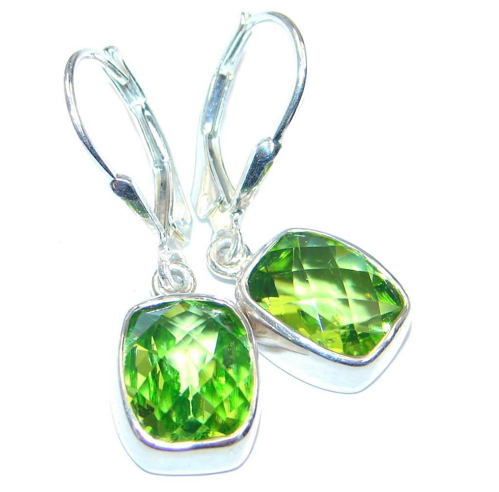 Amazing Genuine Peridot Sterling Silver Earrings