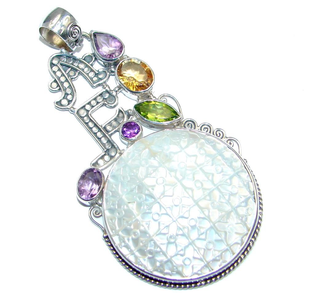 Carved Blister Pearl Sterling Silver Pendant