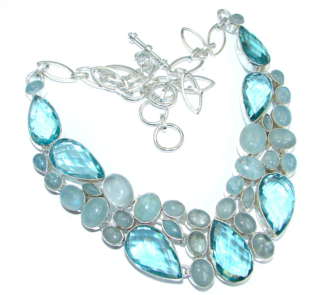 Huge  AAA+ Blue  Aquamarine  created Topaz Sterling Silver handmade necklace