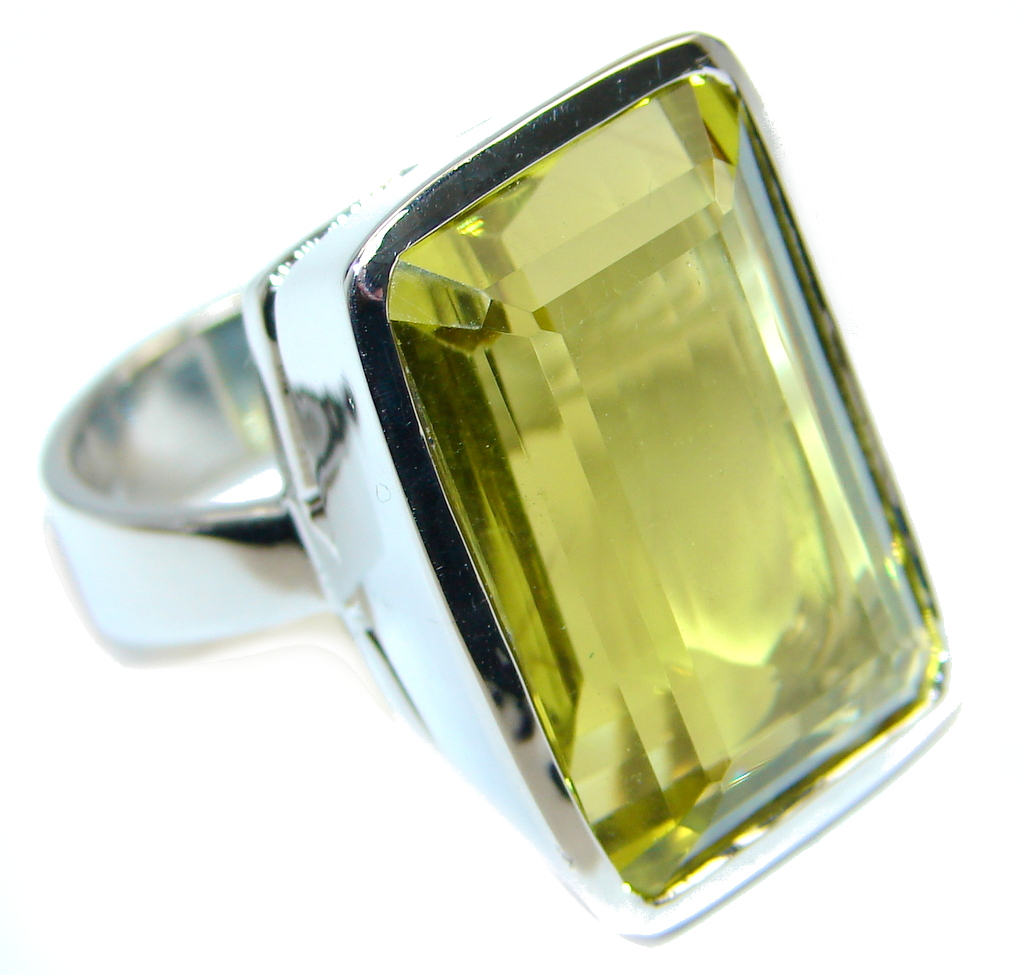 Big Natural Yellow Citrine Sterling Silver Ring s. 8