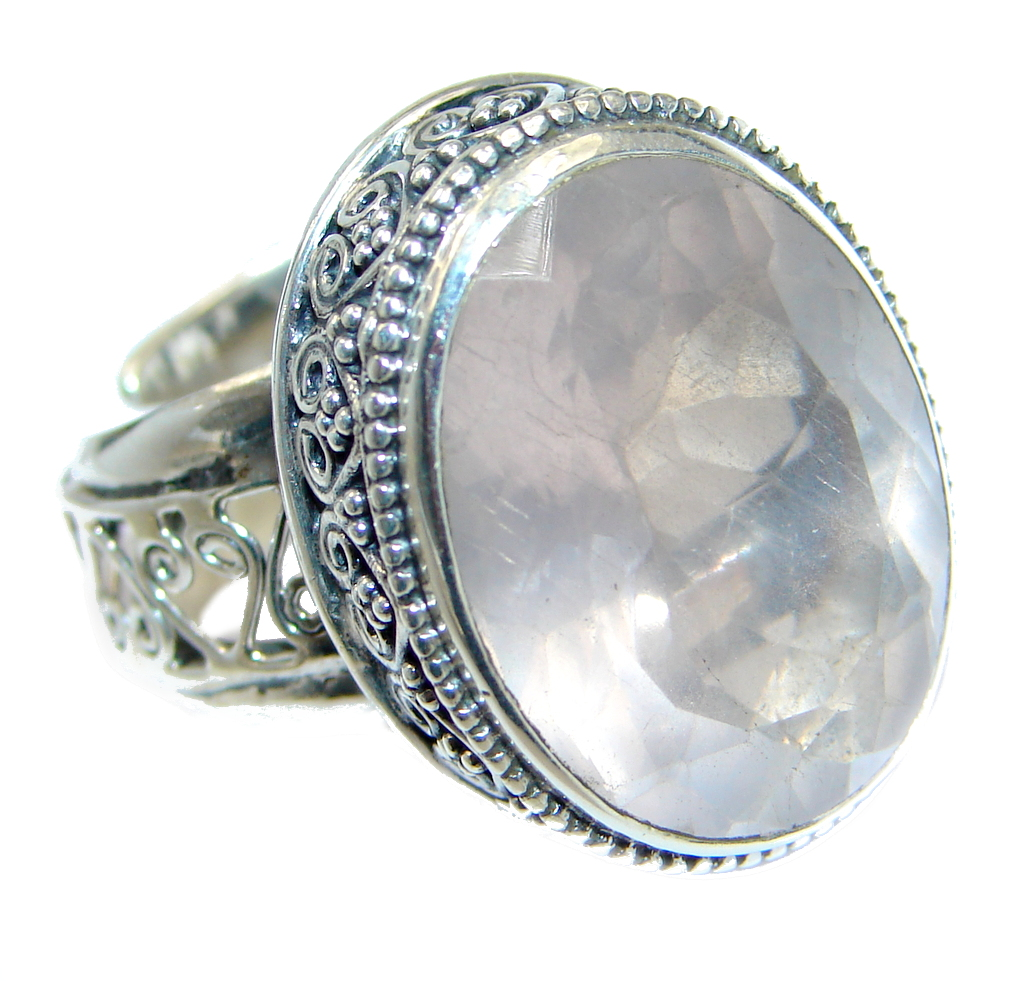 Amazing Rose Quartz  Sterling Silver ring size adjustable