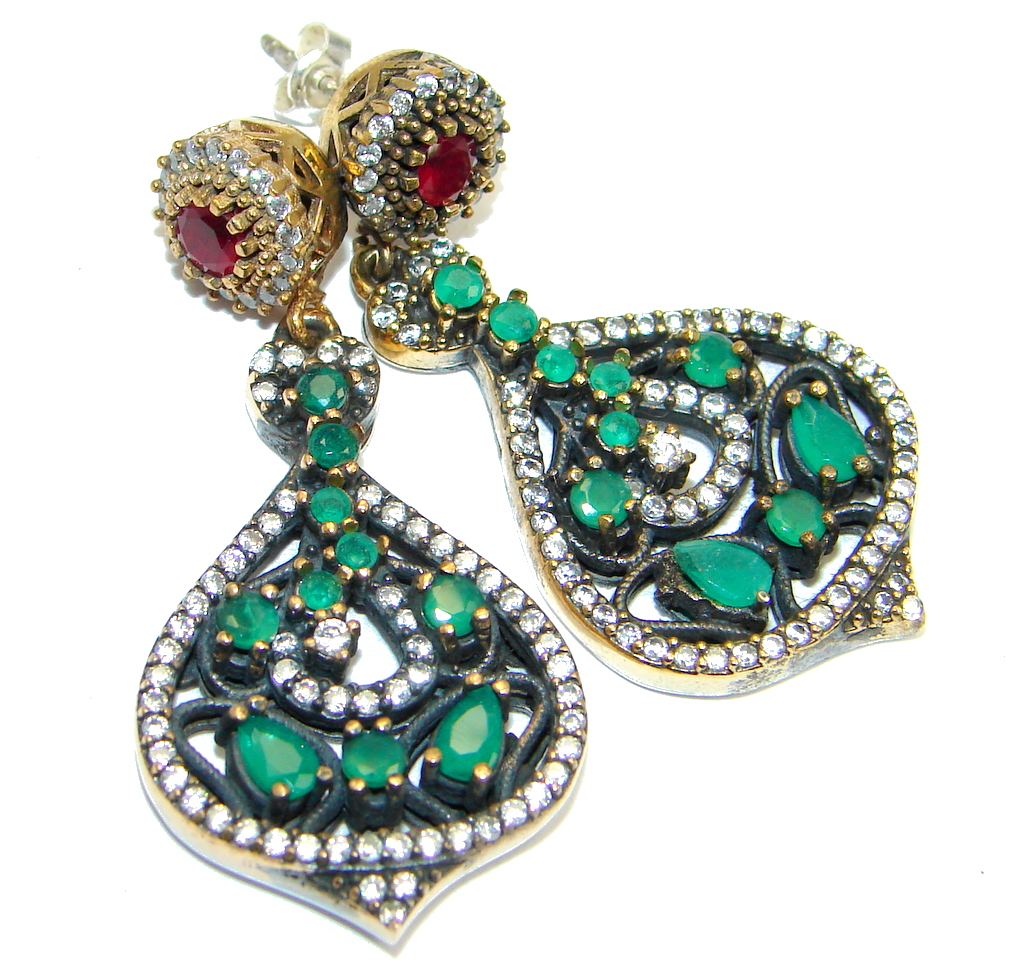 Great Victorian Style created Emerald Ruby Sterling Silver earrings