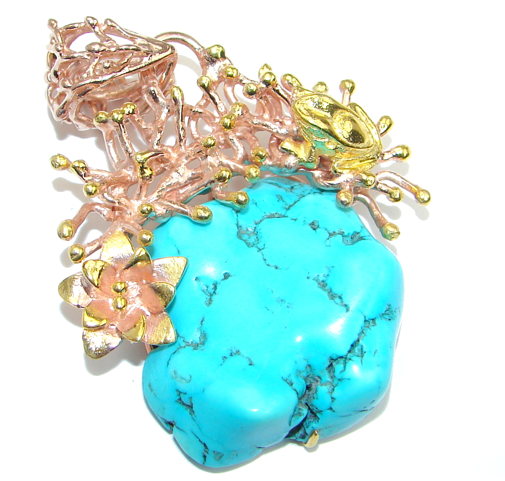 Fabulous Stabilized Turquiose Gold over Sterling Silver Pendant