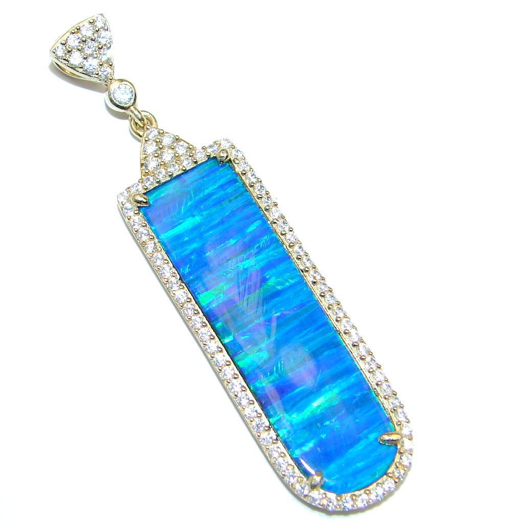 created Japanese Fire Opal Gold plated over Sterling Silver Pendant