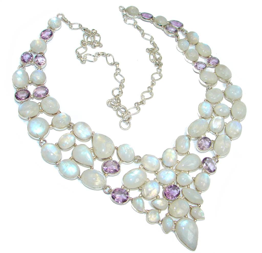 Chunky Snow Queen White Fire Moonstone & Amethyst  Sterling Silver necklace