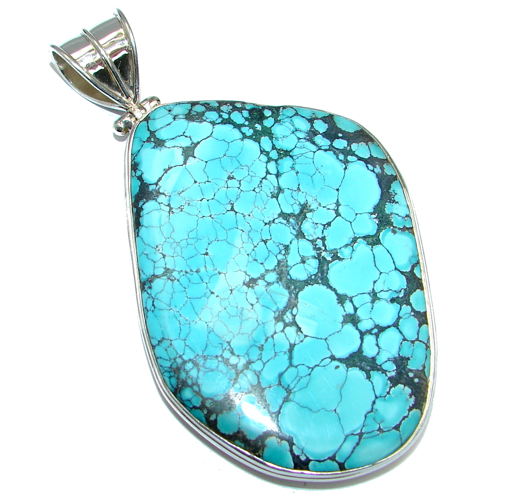 Massive Spider's Web Blue Turquoise Sterling Silver Pendant