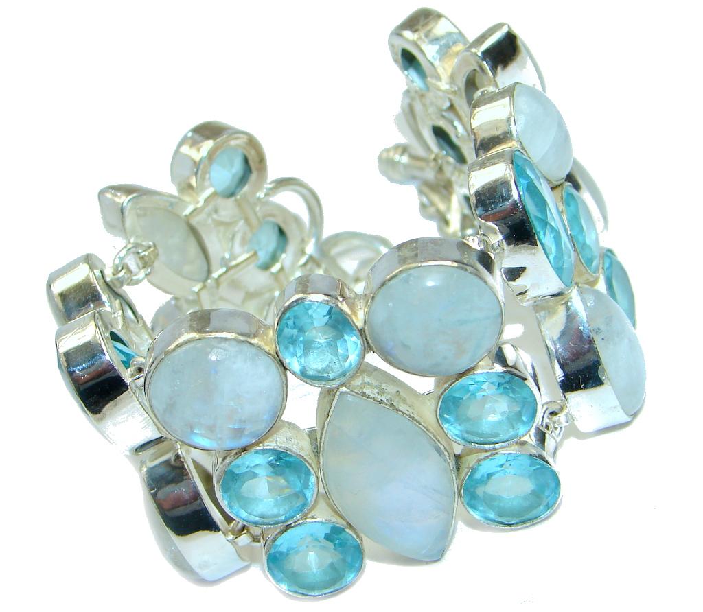 Amazing AAA Blue Moonstone & Blue Quartz Sterling Silver Bracelet