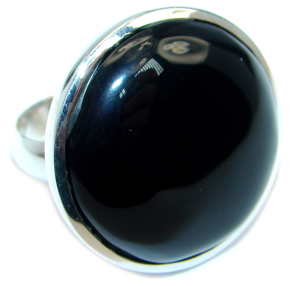 Amazing AAA Black Onyx Sterling Silver ring size adjustable