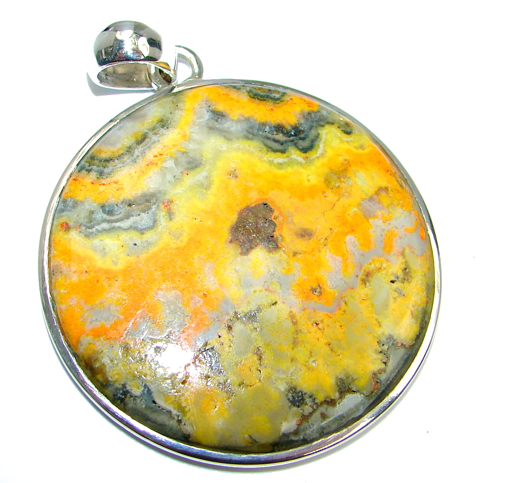 Big Collected Storm Bumble Bee Jasper Sterling Silver handmade Pendant