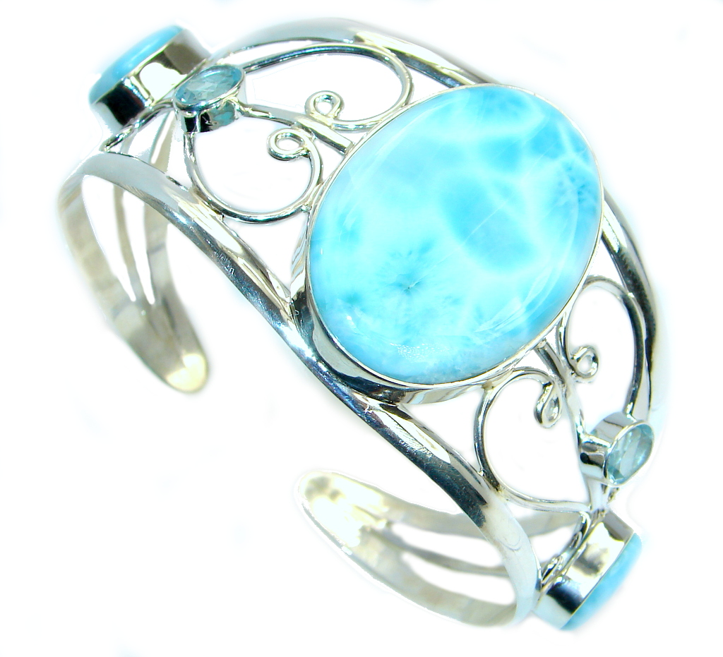 Always Together AAA Blue Larimar Swiss Blue Topaz Sterling Silver Bracelet / Cuff