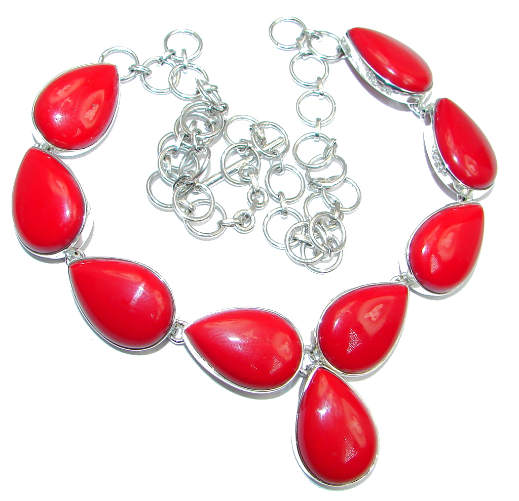 Sublime Red Fossilized Coral Sterling Silver handmade Necklace