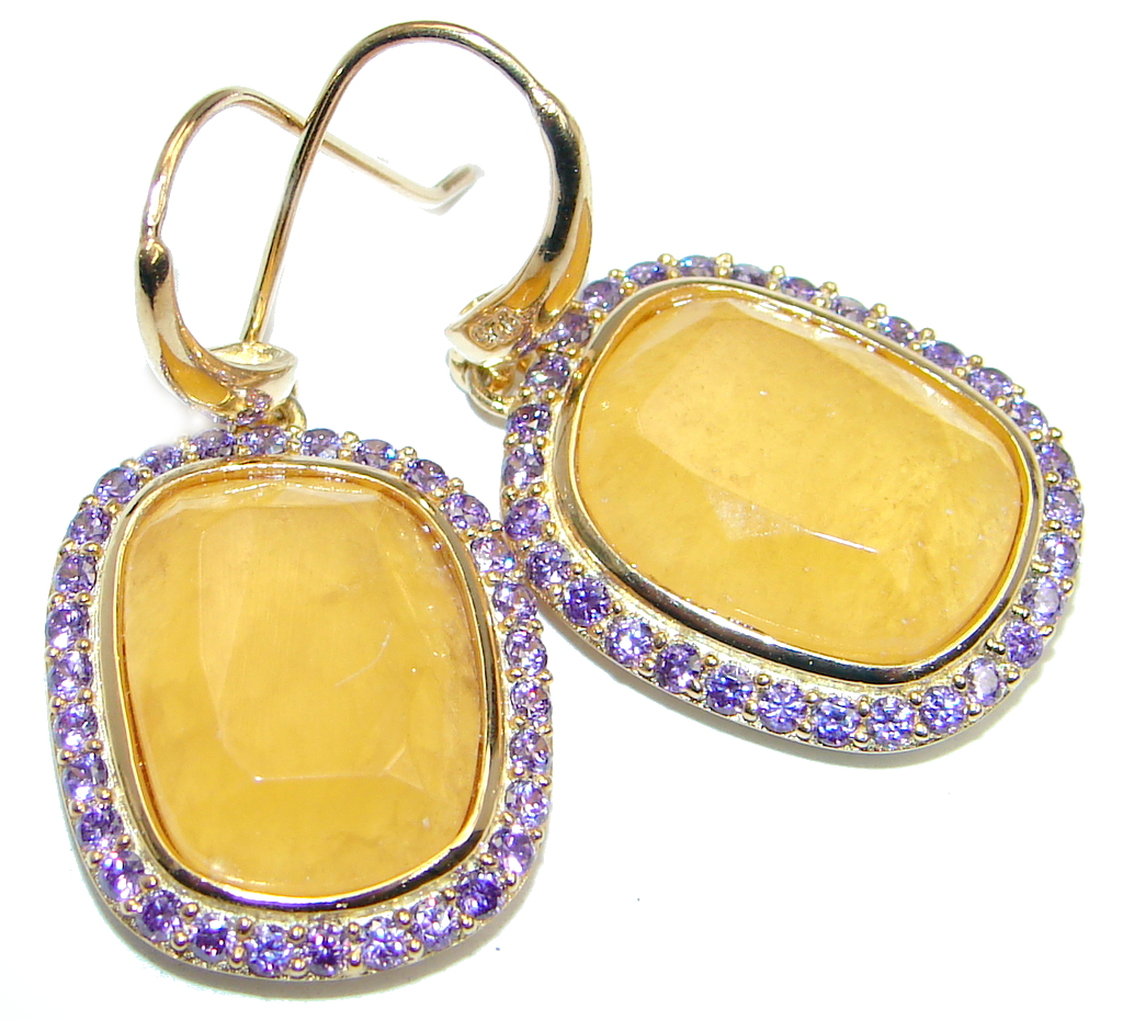 Classy Golden Sapphire Gold over Sterling Silver earrings