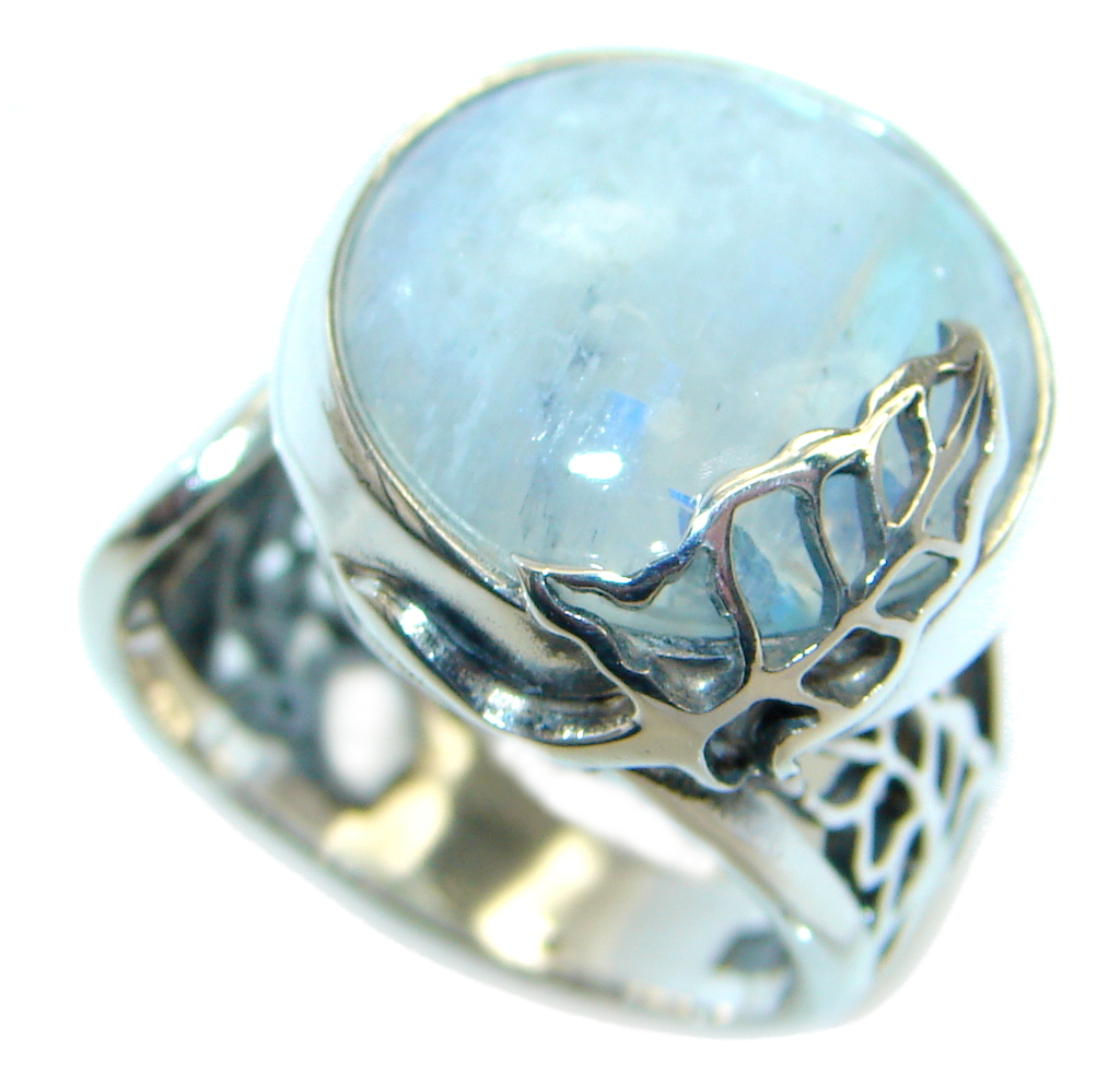 Fire Moonstone  Sterling Silver handmade ring size   adjustable