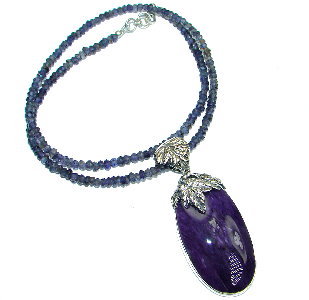 Siberian Purple Charoite Iolite Sterling Silver handmade Necklace