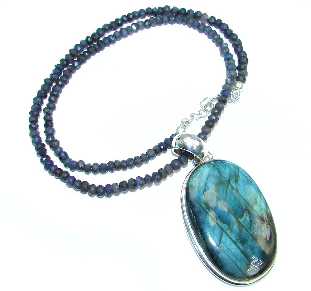 Cloud Of Desire AAA Fire Labradorite Sapphire Sterling Silver handmade necklace