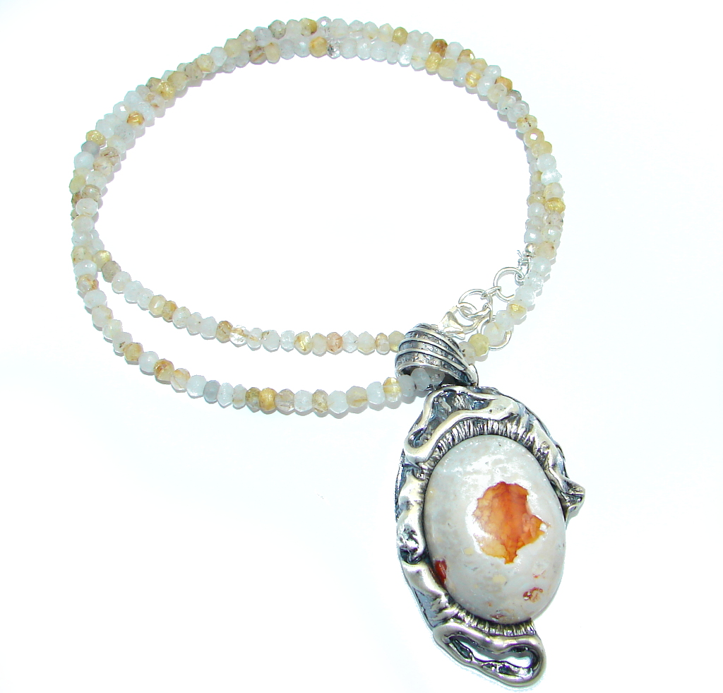 Great Mexican Fire Opal Golden Rutilated Quartz Sterling Silver handmade Necklace