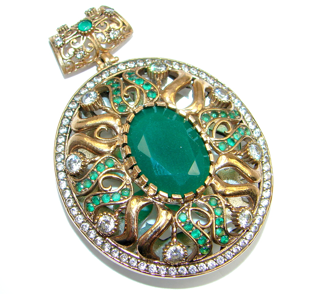 Victorian Style  created Emerald Two tones  Sterling Silver Pendant