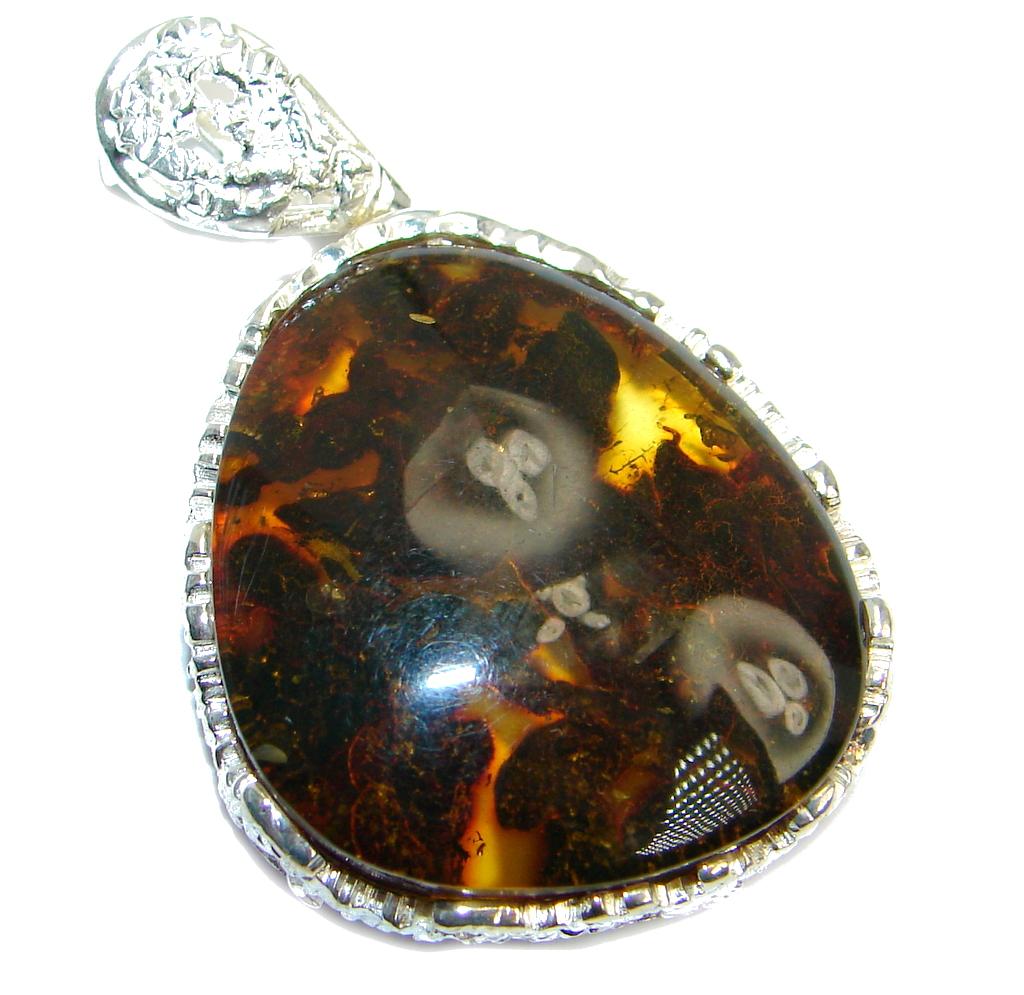 Vintage Design Golden natural Baltic Amber Sterling Silver Pendant