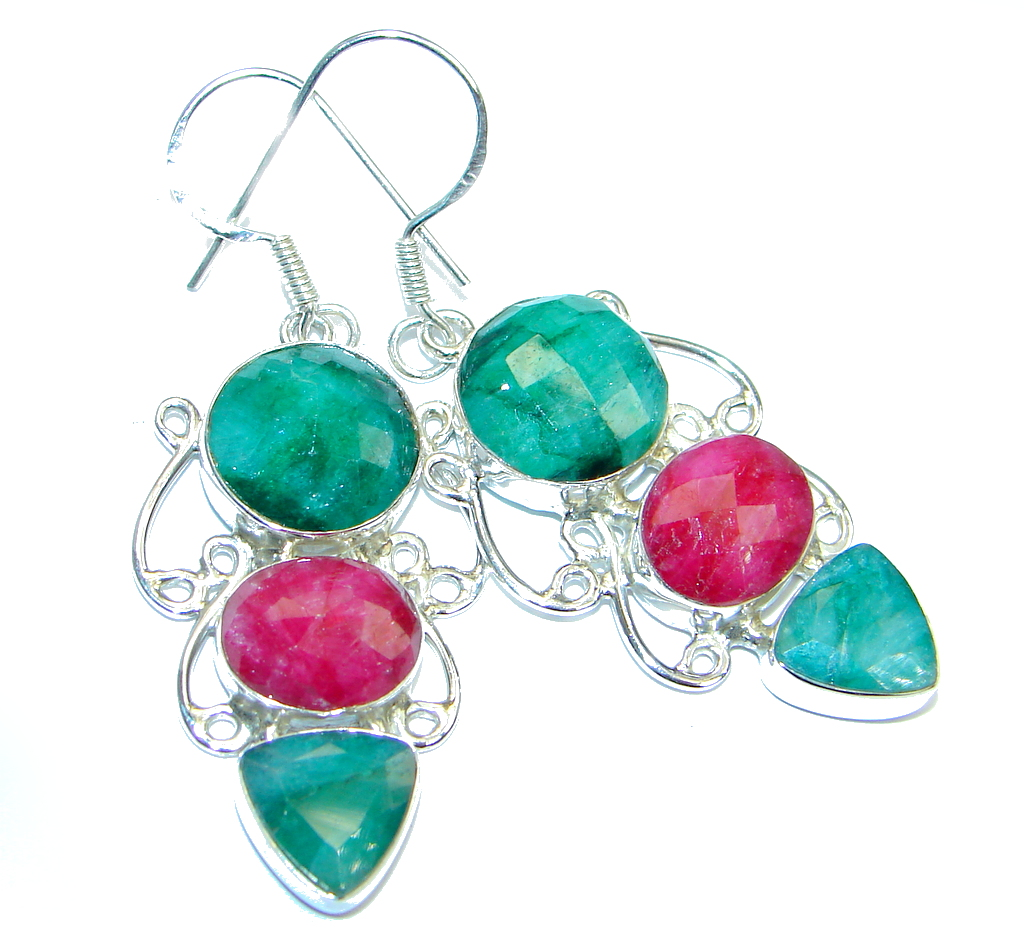 Great Ruby Sterling Silver handmade earrings