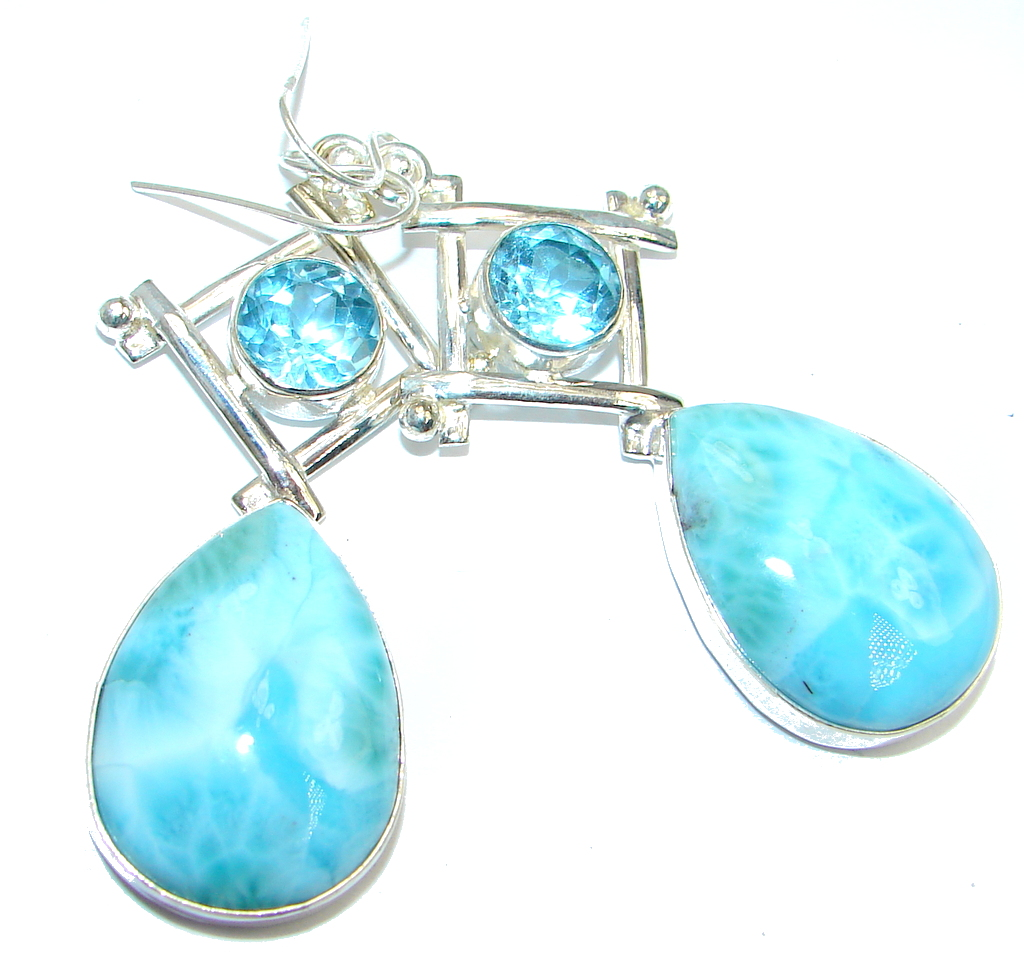 AAA Blue Larimar Swiss Blue Topaz Sterling Silver handmade earrings