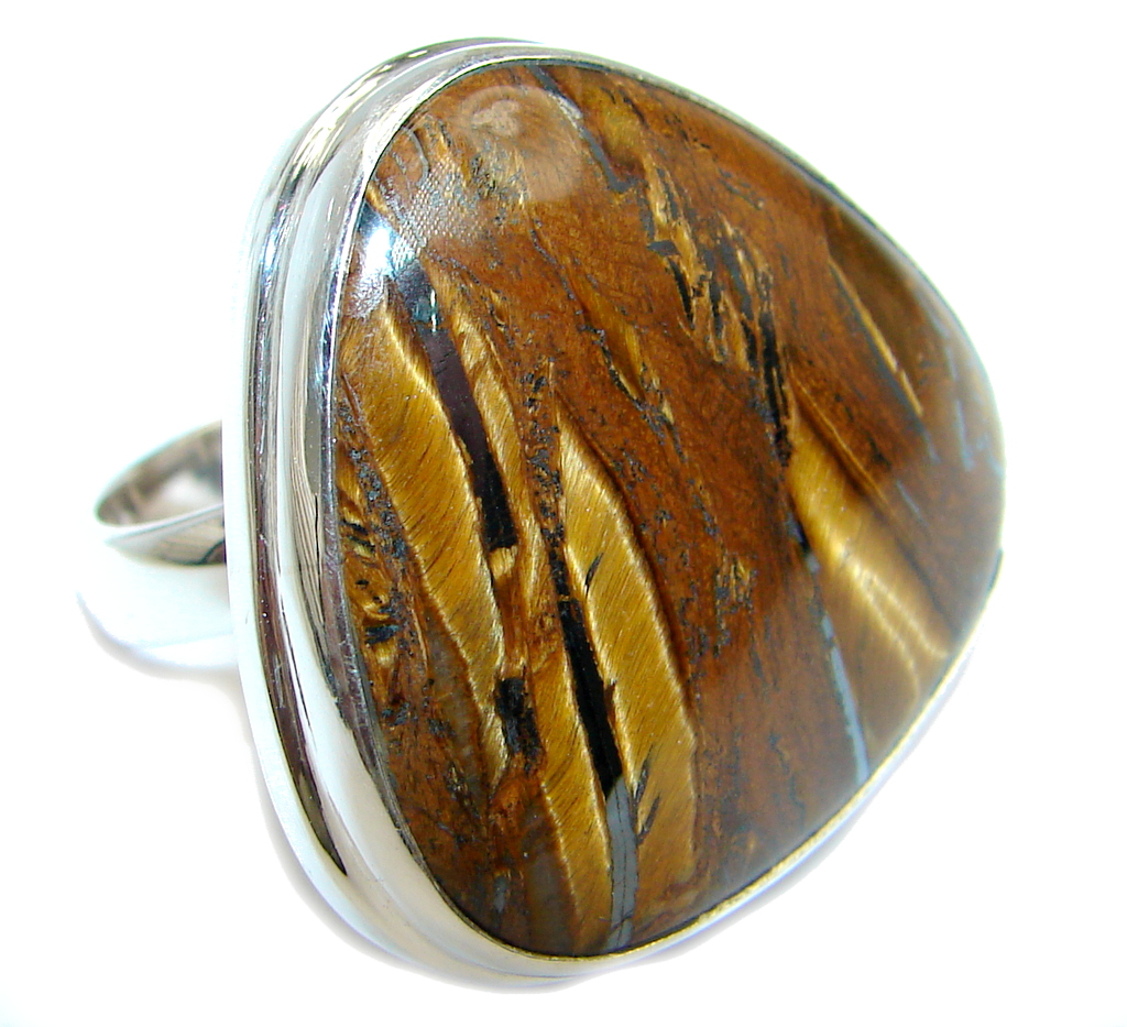AAA Gold  Tigers Eye  Sterling Silver handmade ring size  adjustable