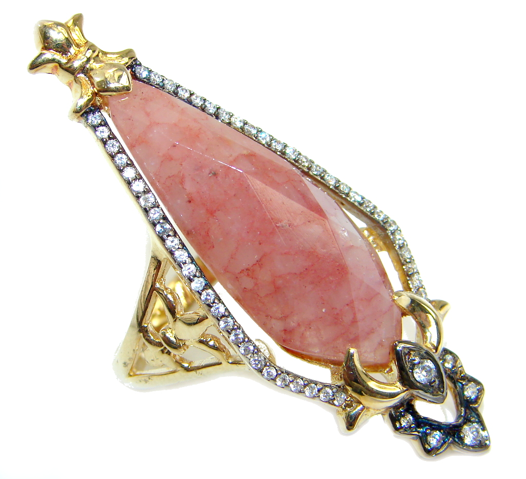 Amazing Red Cherry Quartz Gold over Sterling Silver ring; s. 8