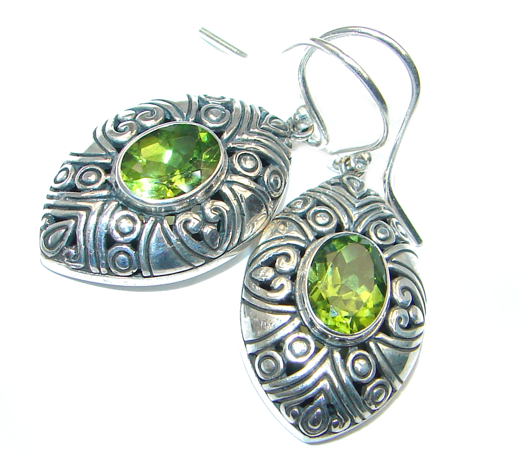 Peridot Sterling Silverb handmade Earrings