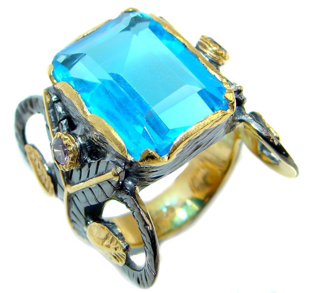 Big created Blue Topaz Gold  Rhodium over Sterling Silver Ring s. 8