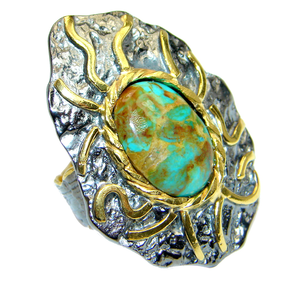 Huge Corrico Lake Turquoise Gold Rhodium plated over Sterling Silver handmade Ring size 9