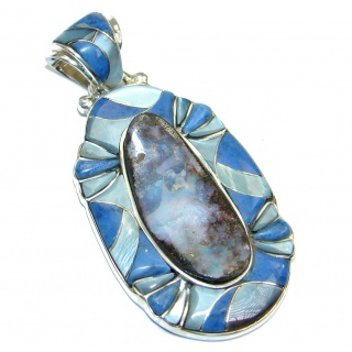 Beautiful Natural Australian Boulder Opal Sterling Silver handcrafted Pendant
