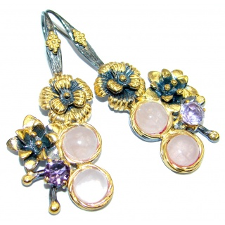 Secret Beauty Rose Quartz Amethyst Gold Rhodium plated over Sterling Silver earrings