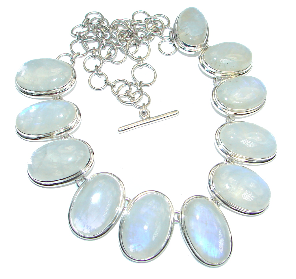 AAA quality White Fire Moonstone Sterling Silver handmade necklace