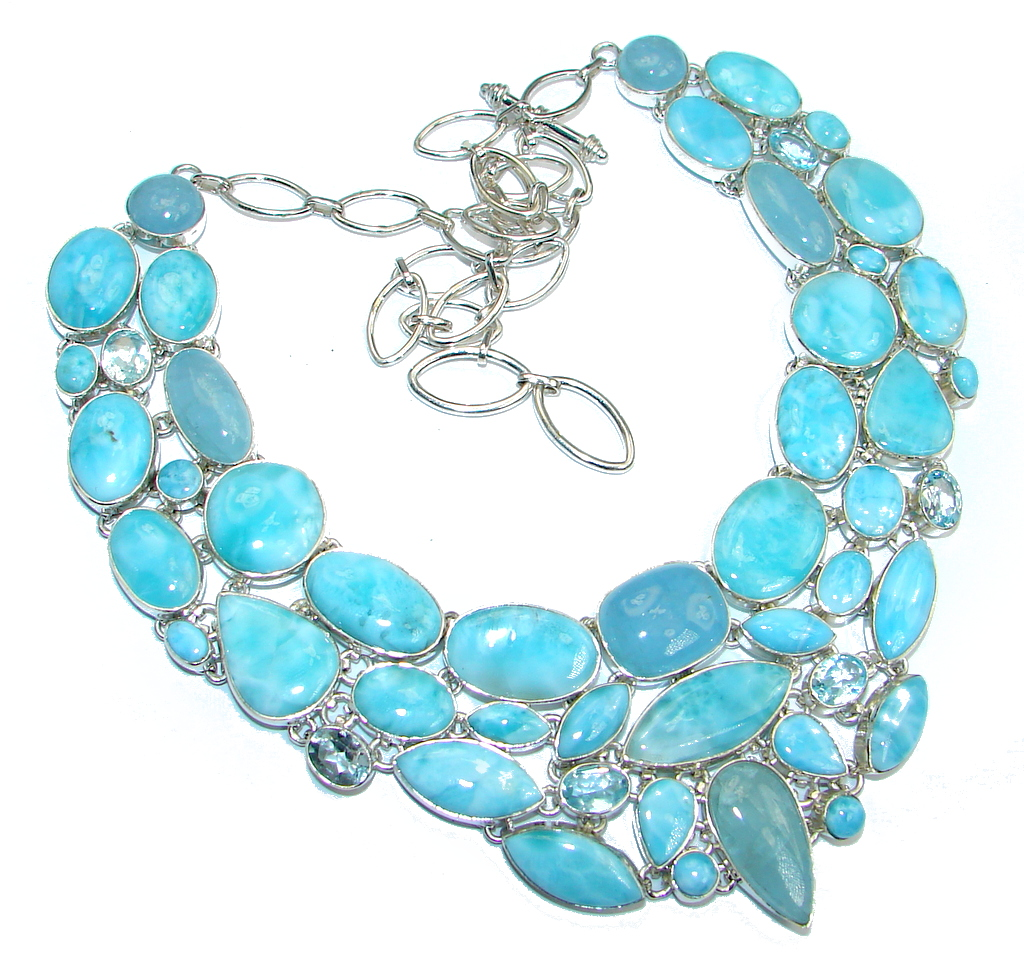Chunky Caribbean Style  AAA+ Blue Larimar Aquamarine  Sterling Silver handcrafted necklace