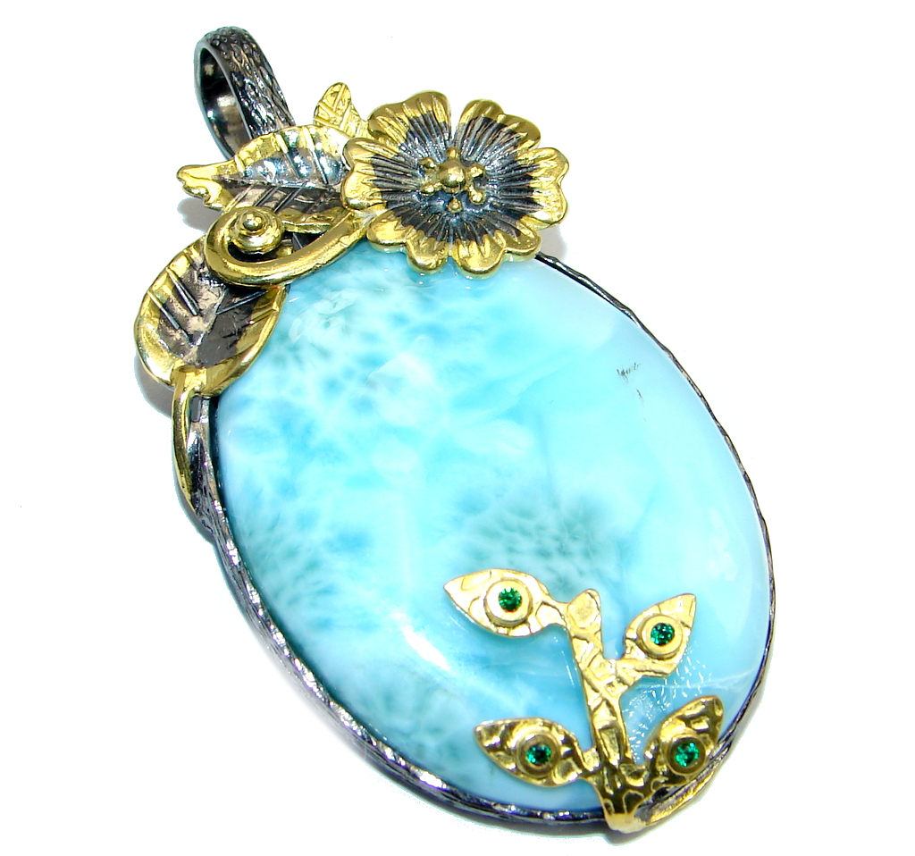 Genuine Blue Larimar Emerald Gold plated over Sterling Silver handmade Pendant