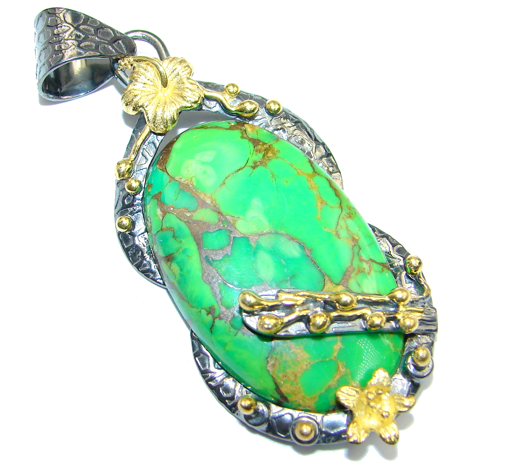 Green Turquoise Copper vains Gold Rhodium plated over Sterling Silver Pendant