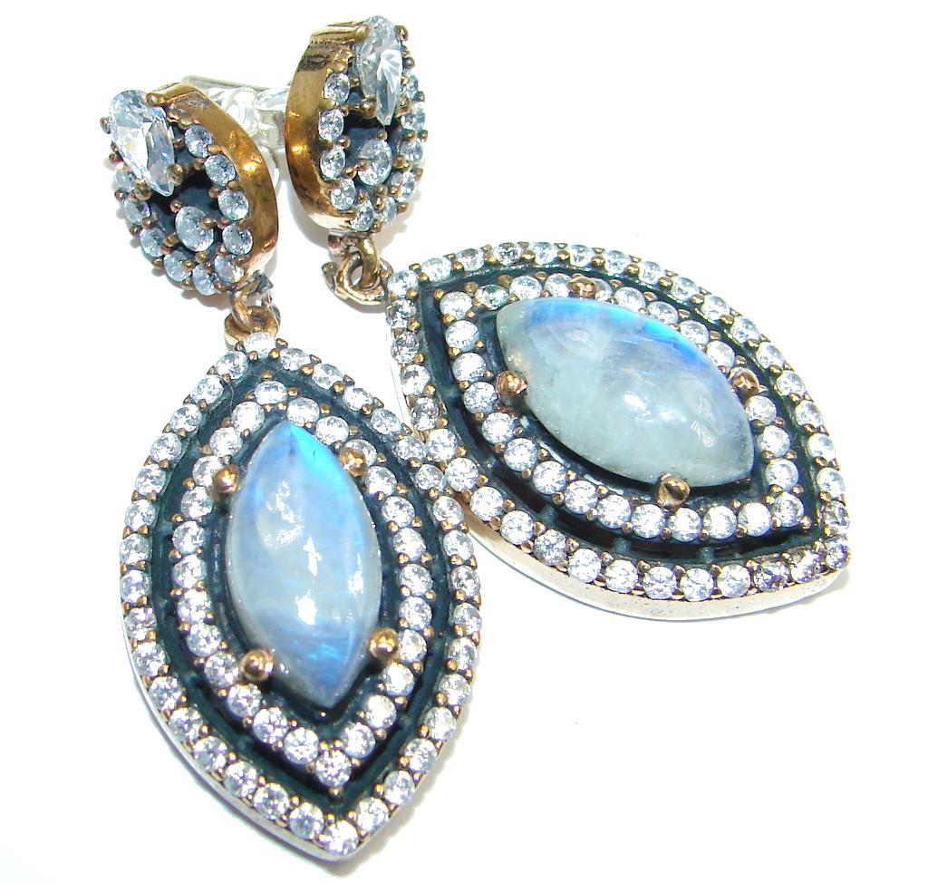 Fire  Moonstone White Topaz copper copper over Sterling Silver earrings